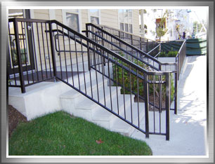 Beau Entrance Stair Railings And Handicap For Boston Area Apartment Building.  Aluminum Canopy Fabrication Custom Metal